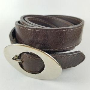 LANDES | Italian leather silver oval buckle belt
